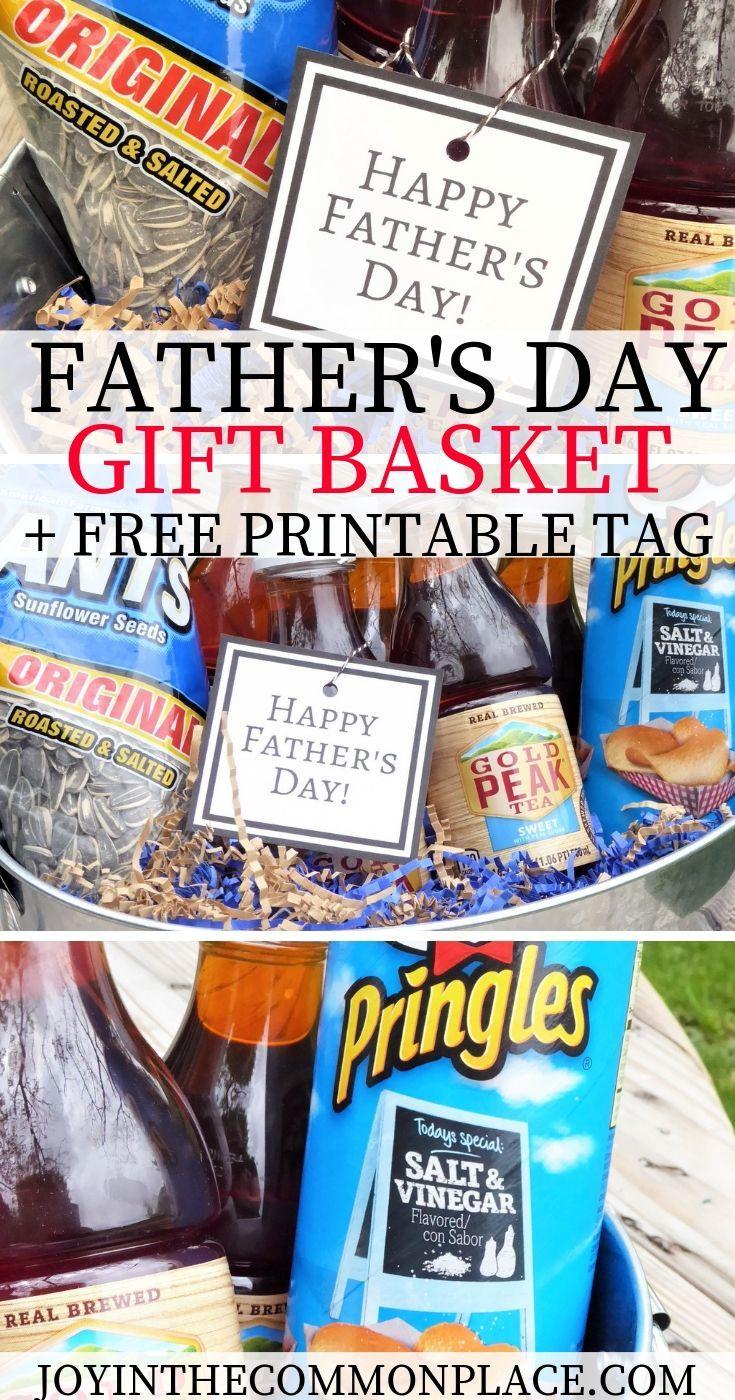 Easy fathers day gift basket free printable tag