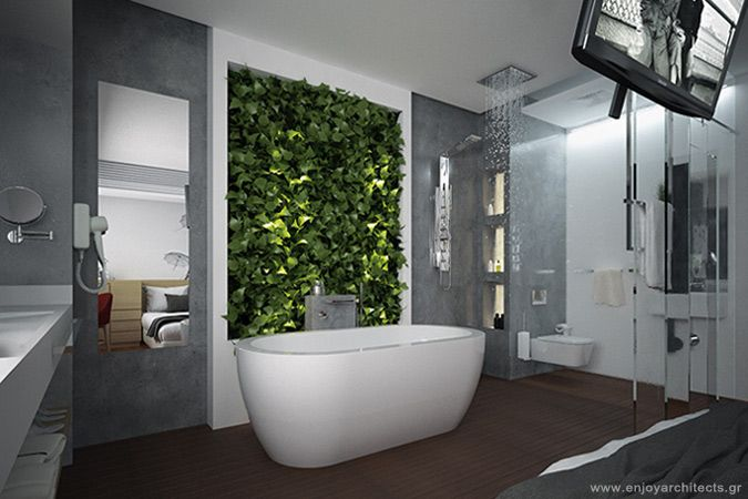 who says that green walls can't live in bathroom?