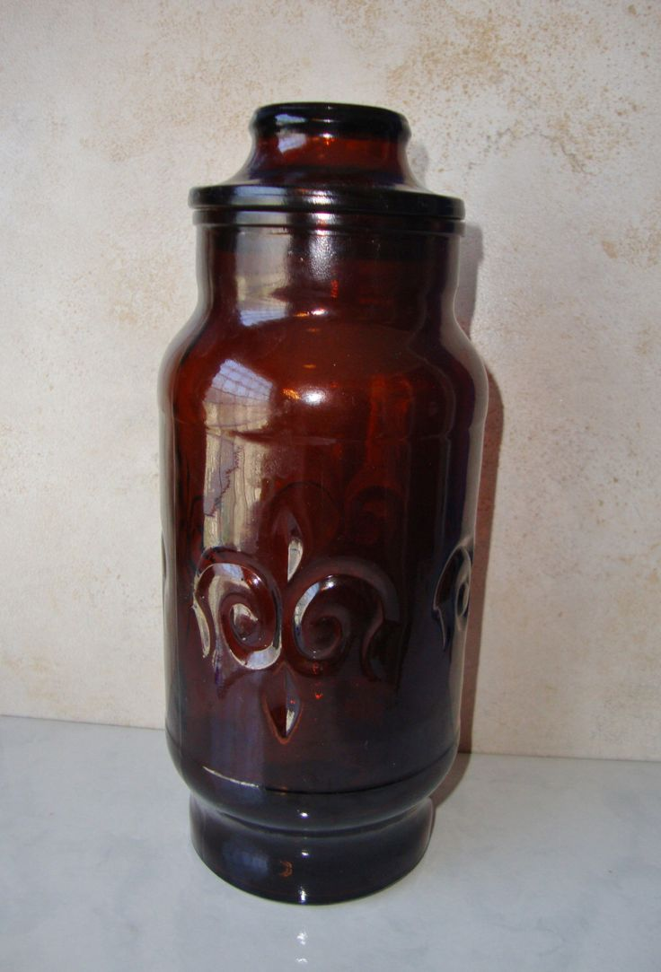 25 best glass canisters ideas on pinterest bulk food storage vintage brown glass canister glass jar fleur de lis