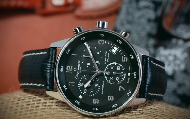 The Generations Johannes, with black dial and black leather strap.