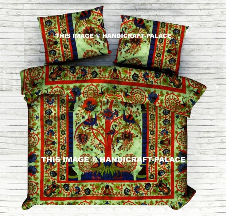 Indian Peacock Tree Of Life Reversible Duvet Doona Quilt Cover Set #Traditional #Beautiful #Ethnic #Indian #Double #Bohemian #Hippie #Gypsy #Decor #Bedding #Set #treeoflife #Tree #floral #Love #decorative #Pillow #cushion #case #sham #slip #India #art #Turquoise #Tiedye #Queen #royal #luxury #bedding #room #home #decor #live #life #love #boho #cotton