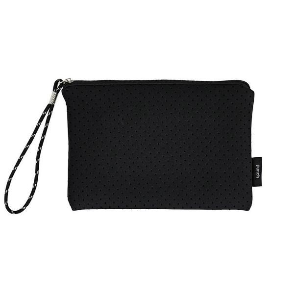 Perforated black neoprene clutch bag with zip & rope wrist strap. 22 x 15 cm. Available in Black, Charcoal, Grey, White, Navy, Metallic Gold & Metallic Silver