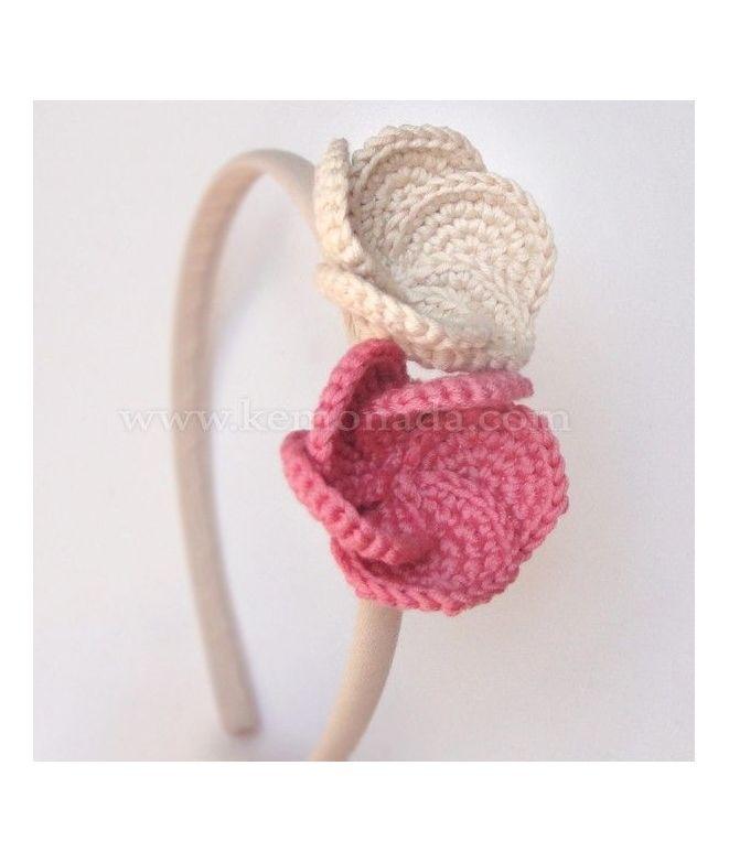 Diadema beige con flores de ganchillo | Ganchillo para bebés ...