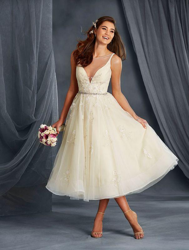 Tea Length Signature Wedding Gown with Plunging Neckline - 21 Best Tea Length Wedding Dresses - EverAfterGuide