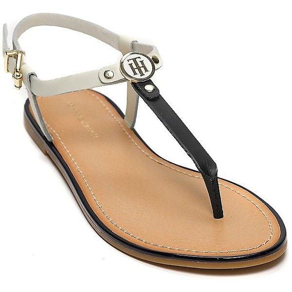 Tommy Hilfiger T-Strap Flat Sandal ($59) ❤ liked on Polyvore featuring shoes, sandals, leather sandals, leather flats, leather t strap sandals, t bar flats and flat pumps