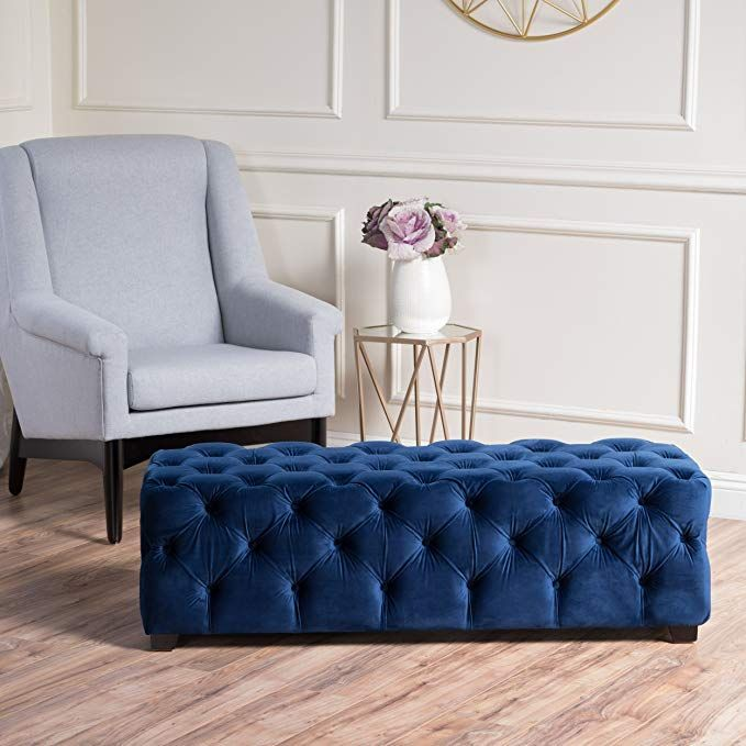 Great Deal Furniture 298425 Provence Navy Blue Tufted Velvet