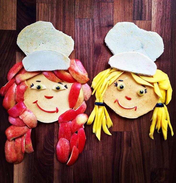 Pancake & fruit little sous chefs by Shannon Mazzei (@foodartfun)