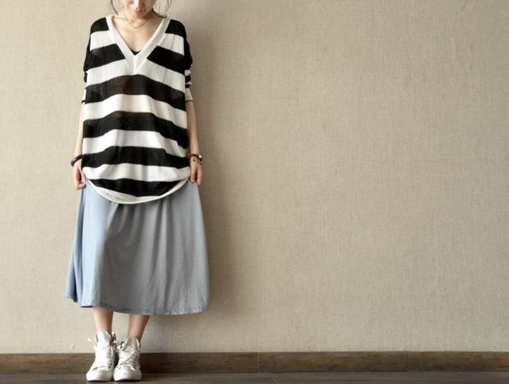 Blue and White Stripes Dress Stretch cotton Skirt Women Clothes / clothingshow