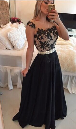 $139-Sheer Lace Black Chiffon Prom Dresses Capped Sleeves Pearls Belt Open Back Modest Formal Long Evening Gowns