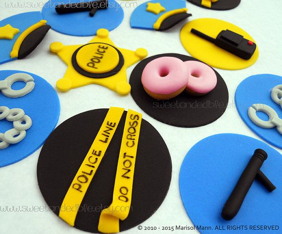12 POLICE cupcake toppers. by SWEETandEDIBLE on Etsy $20