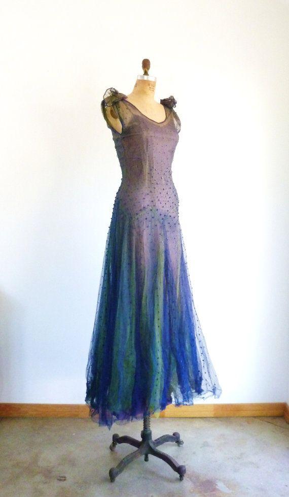 1930s Dress Art Nouveau AvantGarde Bias Cut Antique by MetricMod,
