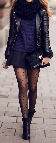 Amazing look! Quilted leather jacket, sweater and mini skirt, infinity scarf, ankle boots and patterned tights.