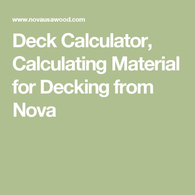 Deck Calculator, Calculating Material for Decking from Nova
