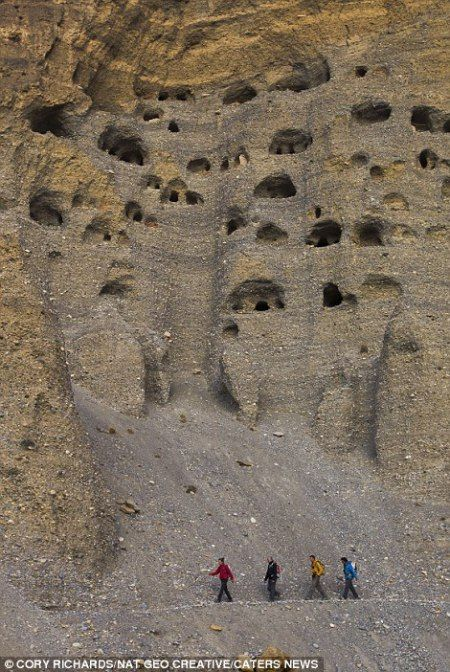The caves near Mustang Nepal where Tibetan monks found seclusion from the world.