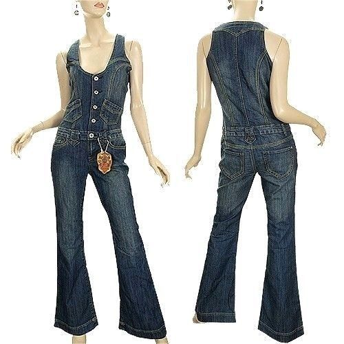 Vanilla Star Blue Denim Jeans Jumpsuit Overall Vintage 70's 80's M Medium