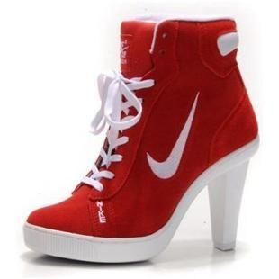 http://www.asneakers4u.com/ Womens Nike Dunk SB Swoosh High Heel Red White