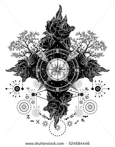 Tattoo art. Compass, crossed arrows, roses, evergreen tree. T-shirt design. Travel, adventure, outdoors symbols. Mystical signs medieval astrological style