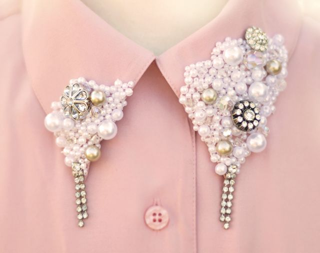 Embellished collar pearls and rhinestones  v. molly ringwaldBlouses, Diy Fashion, Shirts, Pearls, Peter Pan Collars, Beads, Pink, Diy Projects, Embellishments
