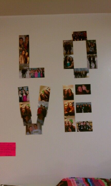 Walls. Picture collages spelling out words.