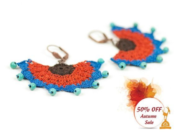 Ethnic Style Crochet Beadwork Earrings,Turquoise Gemstone,Statement Earrings,Orange Blue,Hittites Sun  Heavy on the details, feather light to the ears!  ALL Pinara Design jewelries are INCREDIBLY lightweight!! You wont even know youre wearing them (except youll look AMAZING)!!!!  For all my designs, I use an ancient Anatolian lace technique that dates back thousands of years and use very slim high quality embroidery thread. Every mm is original and handmade by me, no machine are involved…