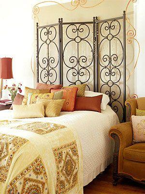O biombo serve de cabeceira de cama, dica de decoração