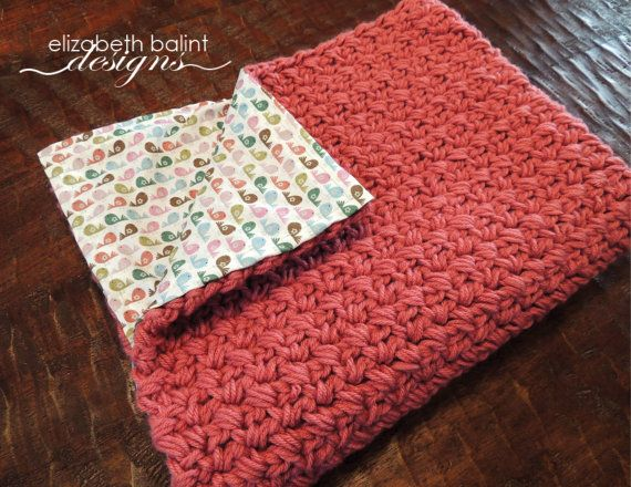 Double Sided, Crochet Baby Girl Blanket with Bird Pattern Fabric