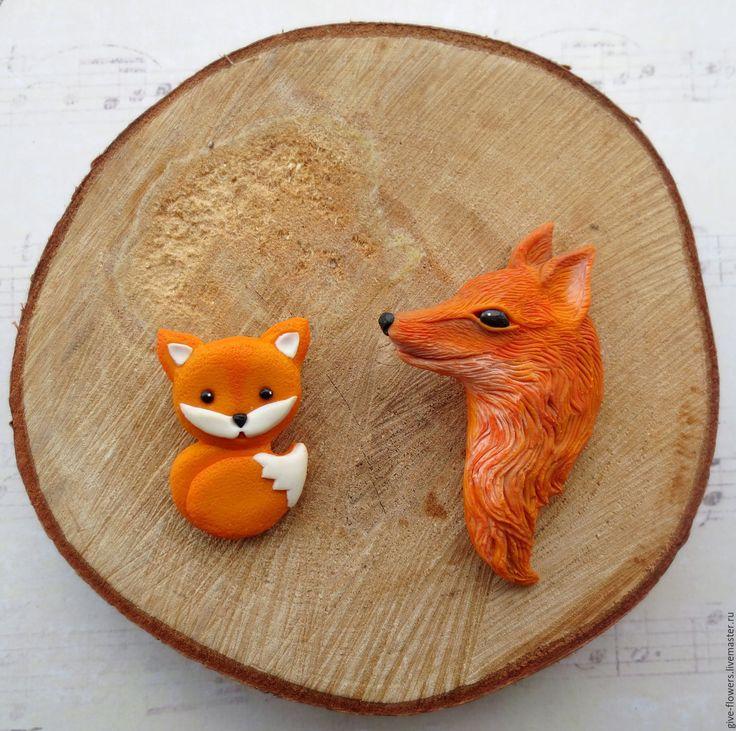 Купить Брошь Лиса лисичка из полимерной глины - рыжий, оранжевый, лиса, Лисонька, брошь