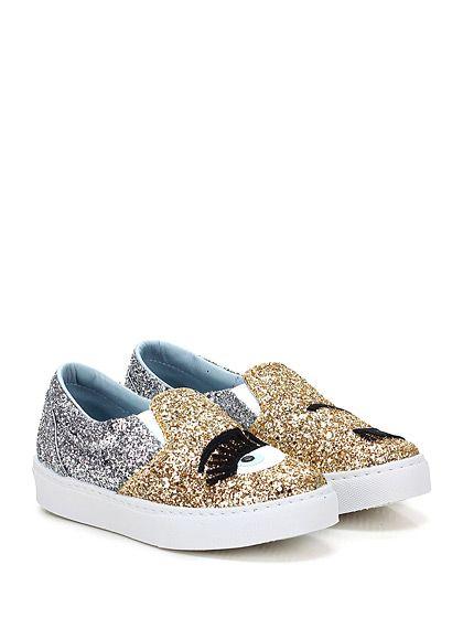 Chiara Ferragni - Sneakers - Donna - Sneaker in glitter con inserti elasticizzati su ambo i lati ed applicazione frontale. Suola in gomma, tacco 35. - ORO\SILVER
