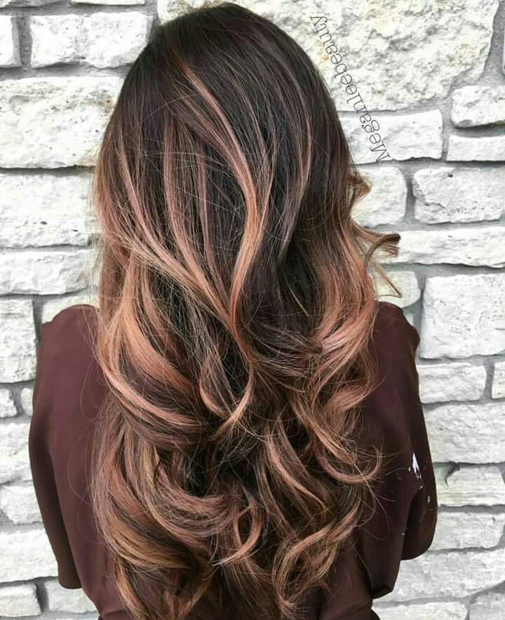 Rose gold balayage brunette