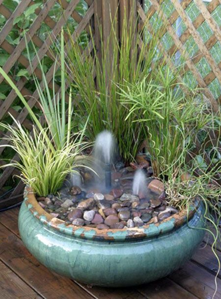 Container Water Gardens Container Gardening Gardening Ponds Water Features Small Fountains In A Small Deck Container Provide Whimsy And The Melodic