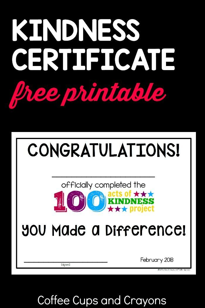 100 Acts of Kindness Certificate   Acts of Kindness for Kids