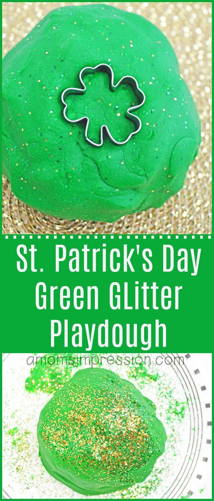 Make this fun homemade St. Patrick's Day playdough recipe for your kids.  Glitter playdough is an easy and fun activity to DIY with your toddler.  They can create and let their imaginations go wild! #playdough #DIY  #crafts #StPatricksDay