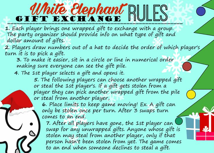 It is a picture of Bewitching White Elephant Rules Printable