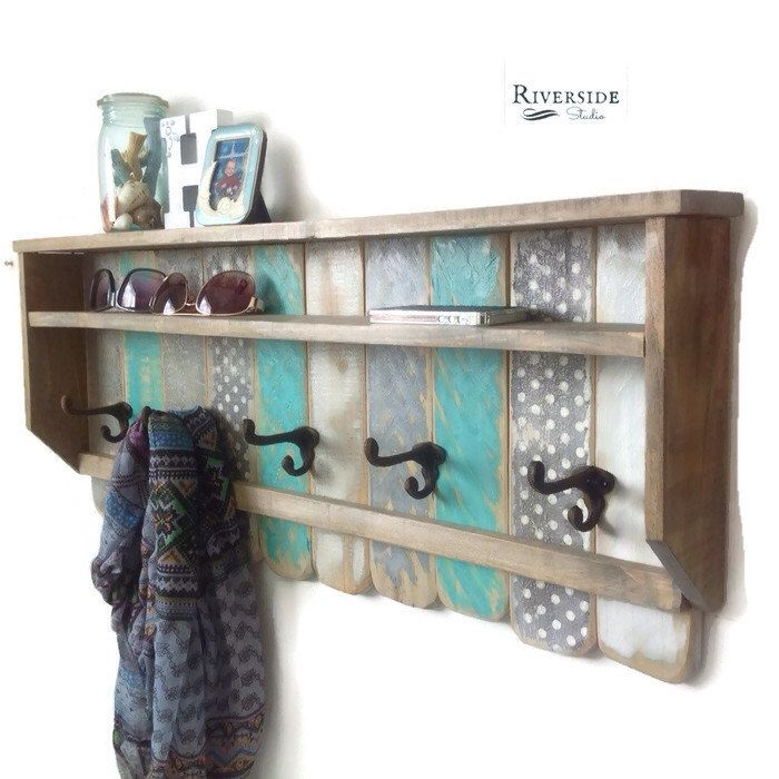 Entryway Wood Shelf with Hooks Rustic