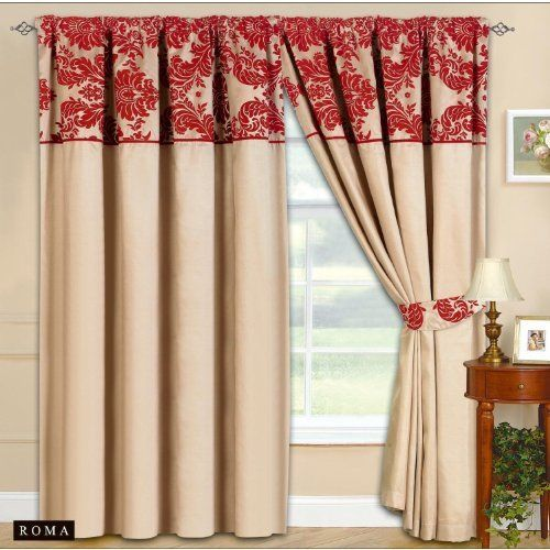90x90 Half Flock Pencil Pleat Luxurious Pair Of Curtains With Matching Tie Backs