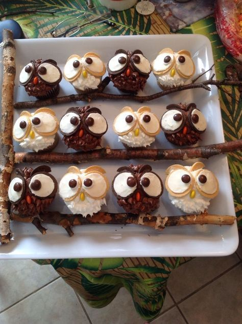 Eulen-Cupcakes #Cupcakes #eulen   – Gesunde Snacks Kindergeburtstag | Kindergeburtstag Essen Gesund