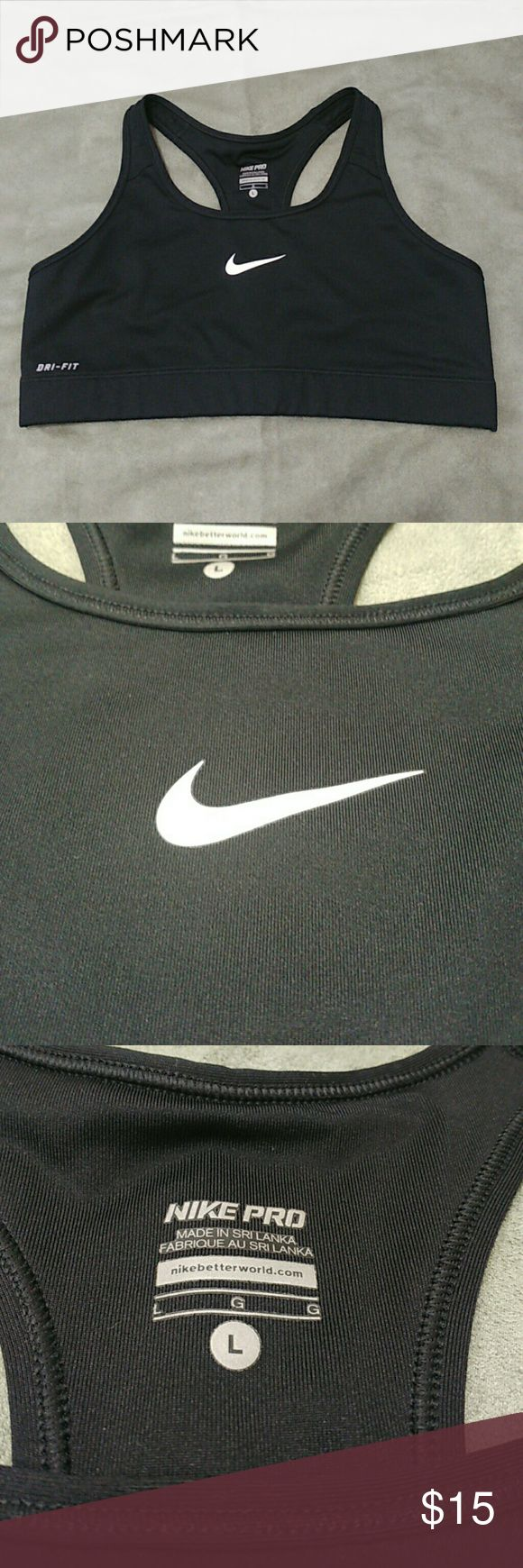 Nike  Dri Fit Workout Racer Back Bra All black  Nike Dri Fit bra . Racer back style, with Nike logs in the front center with light crack and DRI fit label on the lower right side of top Nike Intimates & Sleepwear Bras