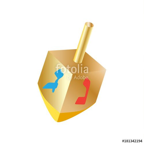 Vector: Hanukkah gold dreidel a small four-sided spinning top with a Hebrew letter on each side, used by the Jews. Spinning top, wood dreidel isolated on white background, vector symbol Jewish Holiday logo.