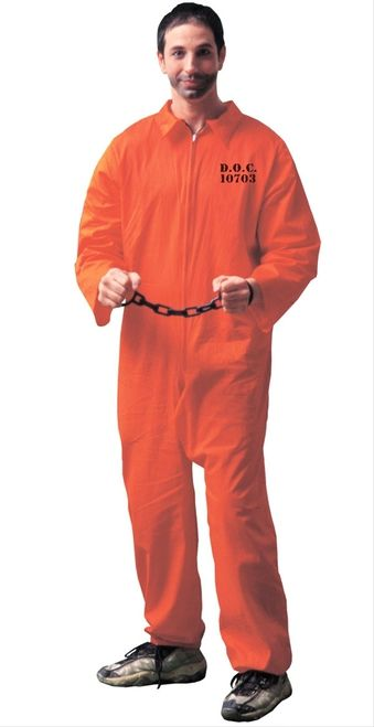Got Busted Prisoner/Convict Halloween Costume - Got Busted? This fun Prisoner Convict costume comes with standard orange jumpsuit and handcuffs and keys. Jail Prisoner is great costume idea for a good guy/ bad guy themed party, Halloween or jail time at a charity event! #YYC #Calgary #costume #Convict #Prisoner #GotBusted