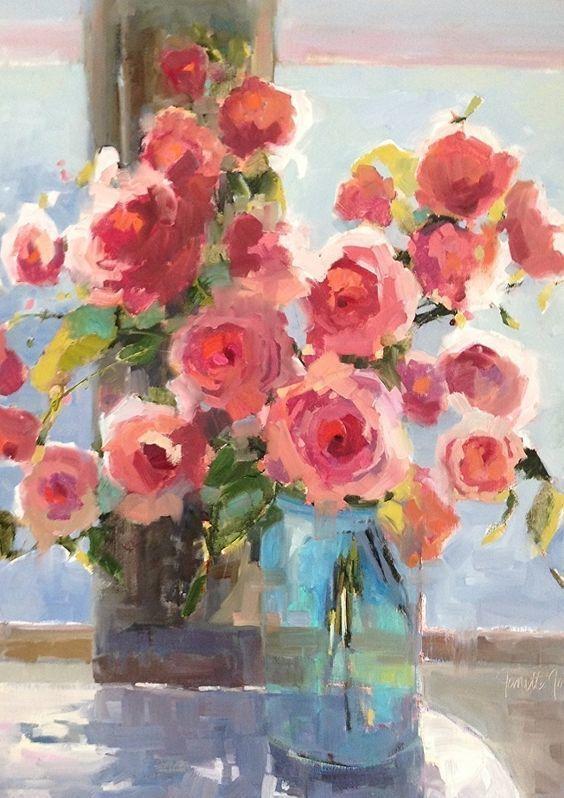 Beach Roses by Janette Jones Oil ~ 30 x 24