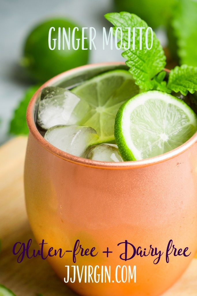 It's mojito time! This delicious twist on the classic includes the kick of fresh ginger and sparkling probiotic drink for great taste and nutrition. Get this gluten free, dairy free, low sugar cocktail recipe now..