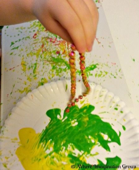 Painting with Mardi Gras Beads for Kids