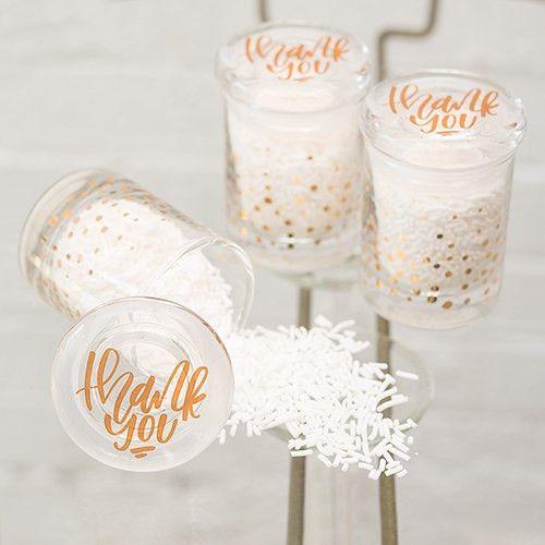 Gold Foil Confetti Mini Glass Favor Jar with Lid