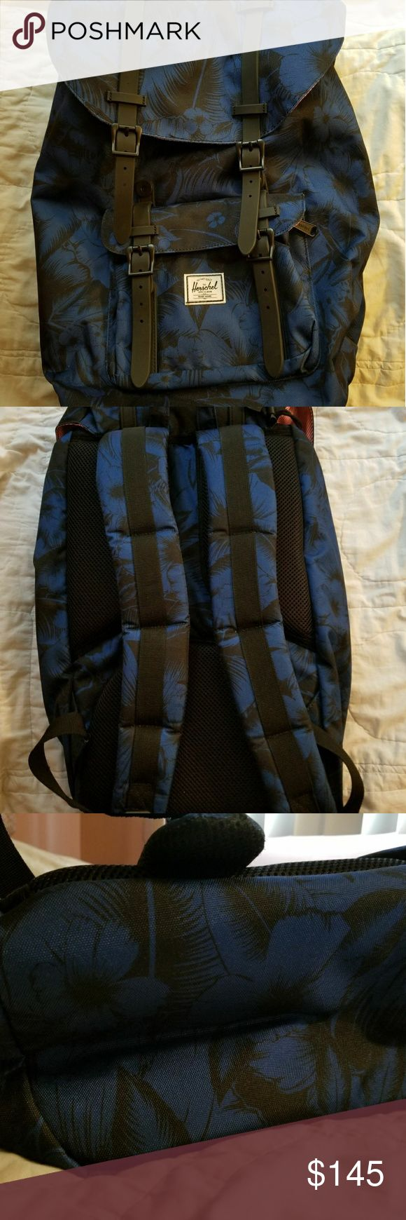 """Brand New Herschel Little America Blue Floral Back Herschel Supply Company - """"little America"""" style  - brand new (no tags) - blue and black exterior - red and white interior Herschel Supply Company Bags Backpacks"""