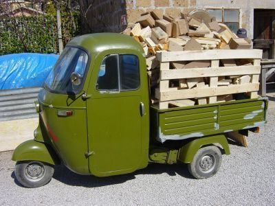Vespa Ape pickup with wood