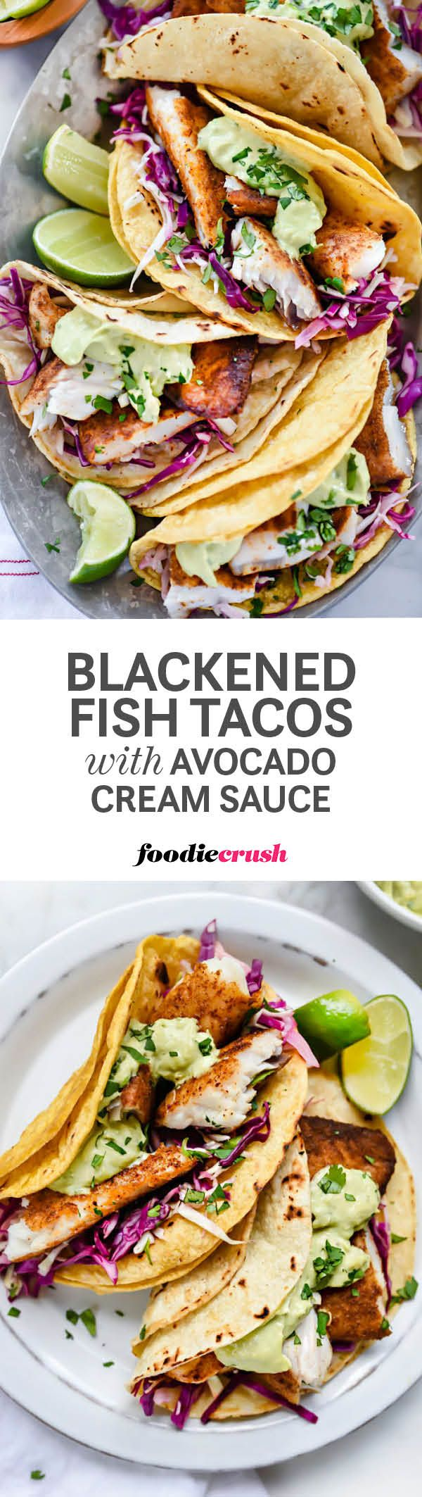 Baja-style fish tacos get a blackened cajun fix cooled off with an avocado cilantro tartar sauce and cabbage for a fast and easy taco meal. | http://foodiecrush.com #tacos #fishtacos