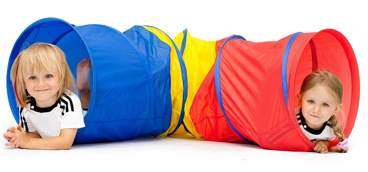 """6-feet Kids Play Tunnel Tent, Children Exploration Discovery Crawl Tube for Toddlers -Pops up No Assembly Required- Great Gift Idea for Kids – By Kiddey. Its bright colors are perfect for stimulating the mind and muscles. The tunnel is approximately 6' L x 18"""" h when open. Easy-to-use pop-up design. Compact storage capability makes it ideal for home or away. Can be used outside or even set up in a child's bedroom."""