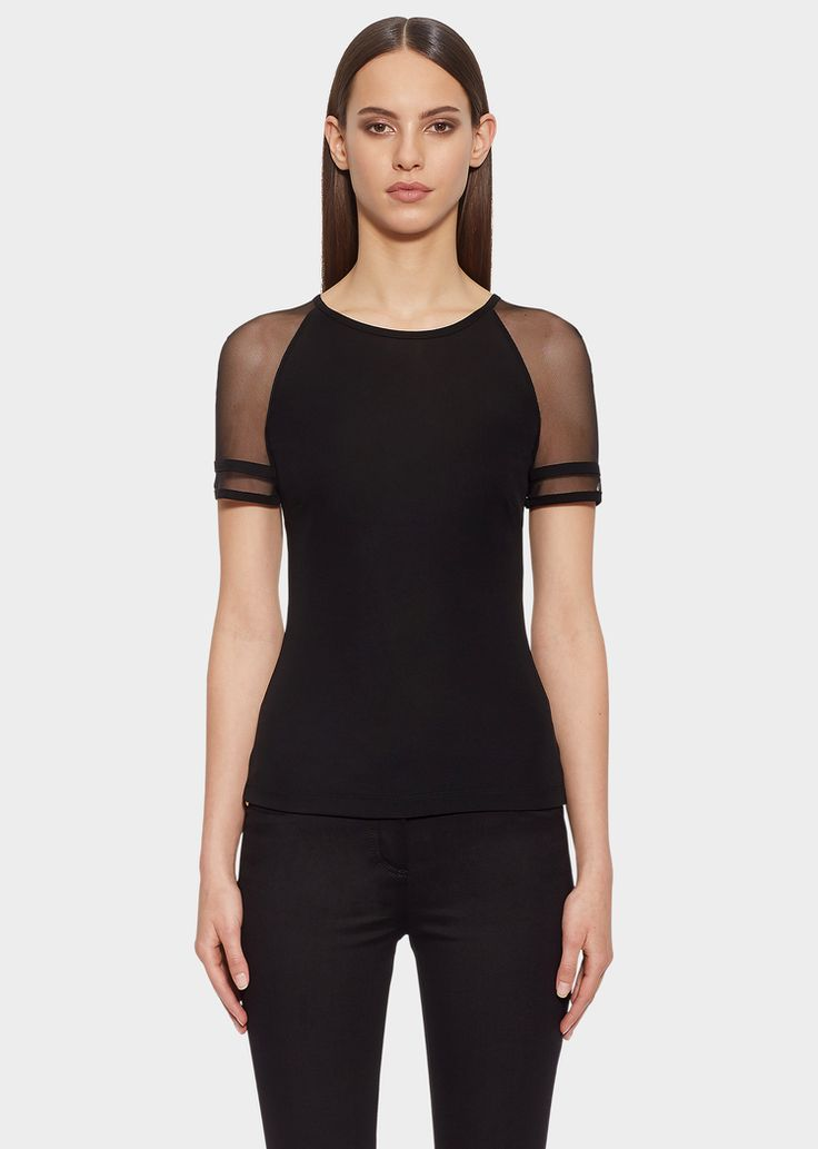 Versace Tulle Sleeve Jersey Top for Women | US Online Store