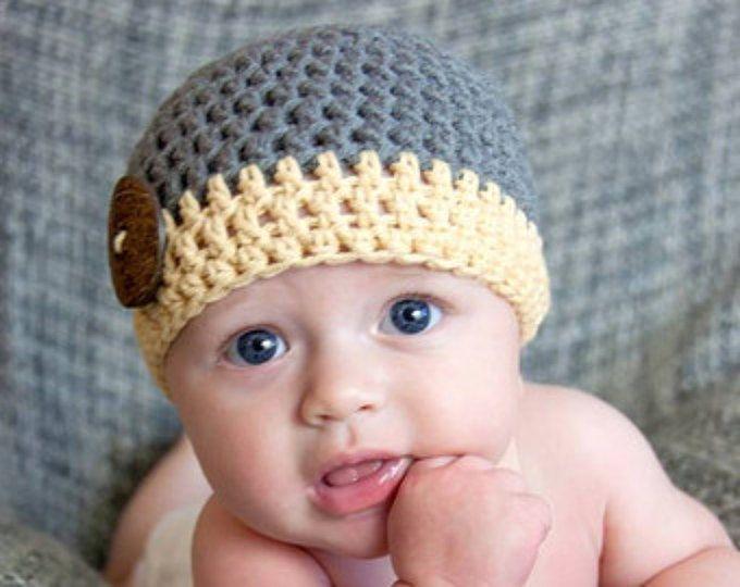 Sombrero feliz de Monster  monstruo de ganchillo bebé niño