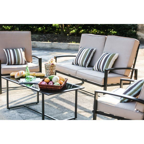 4 Piece Sofa Seating Group With Cushions Reviews Allmodern Outdoor Seating Set Conversation Set Patio Outdoor Furniture Sets